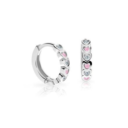 Pendientes criollas para recién nacida Danfil C3339 oro blanco, Pink