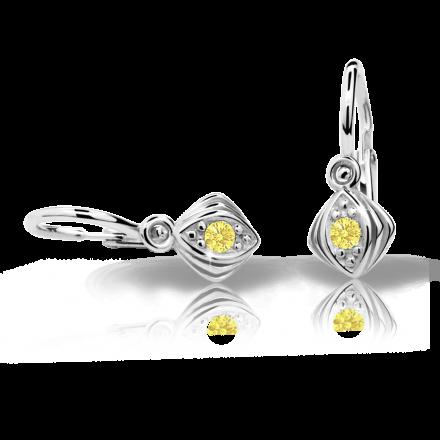 Pendientes de bebé Danfil C1897 oro blanco, Yellow, cierre frontal-la brisura
