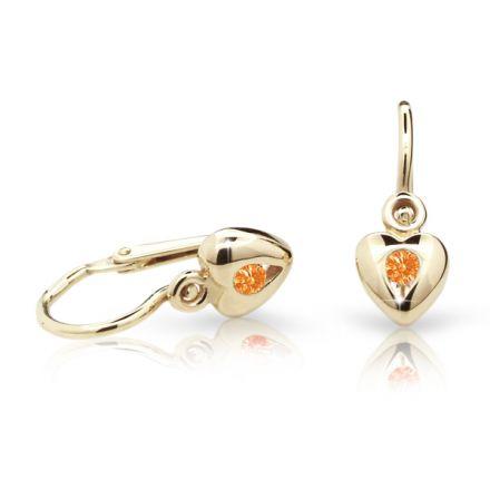 Pendientes de bebé Danfil corazones C1556 oro amarillo, Orange, cierre frontal-la brisura