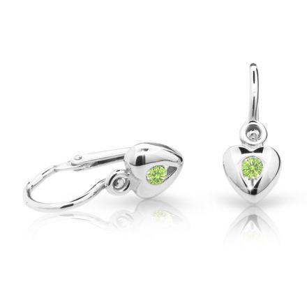 Pendientes de bebé Danfil corazones C1556 oro blanco, Peridot Green, cierre frontal-la brisura