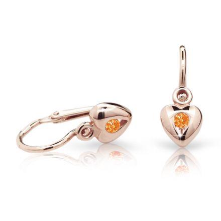 Pendientes de bebé Danfil corazones C1556 oro rosa, Orange, cierre frontal-la brisura