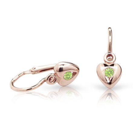 Pendientes de bebé Danfil corazones C1556 oro rosa, Peridot Green, cierre frontal-la brisura