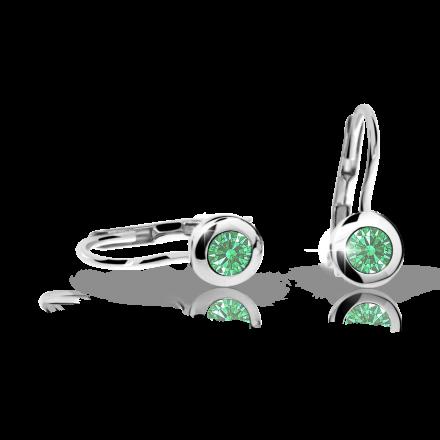 Pendientes de niña Danfil C1537 oro blanco, Emerald Green, cierre de pala