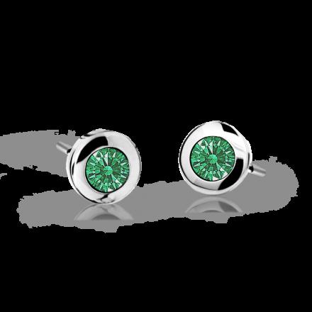 Pendientes de niña Danfil C1537 oro blanco, Emerald Green, cierre de presión
