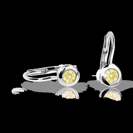 Pendientes de niña Danfil C1537 oro blanco, Yellow, cierre de pala
