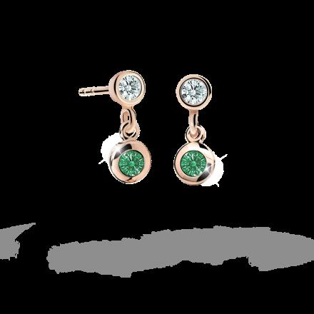 Pendientes de niña Danfil C1537 oro rosa, Emerald Green, cierre de presión