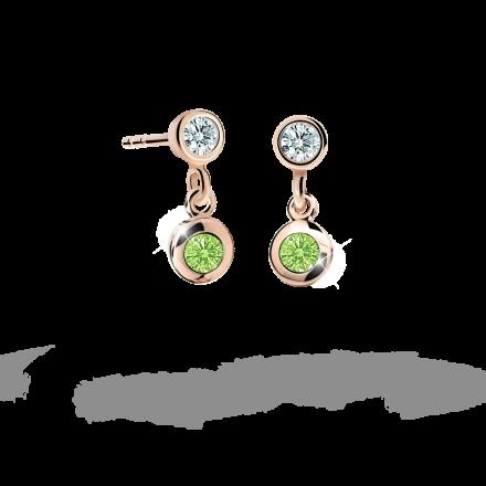 Pendientes de niña Danfil C1537 oro rosa, Peridot Green, cierre de presión