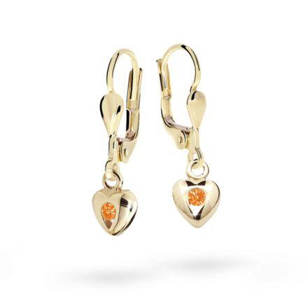 Pendientes de niña Danfil corazones C1556 oro amarillo, Orange, cierre de pala