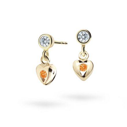 Pendientes de niña Danfil corazones C1556 oro amarillo, Orange, cierre de presión