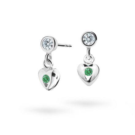 Pendientes de niña Danfil corazones C1556 oro blanco, Emerald Green, cierre de rosca