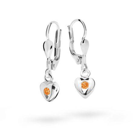 Pendientes de niña Danfil corazones C1556 oro blanco, Orange, cierre de pala