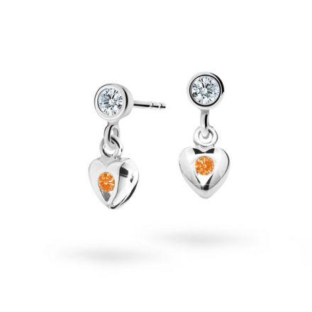 Pendientes de niña Danfil corazones C1556 oro blanco, Orange, cierre de presión