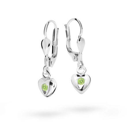 Pendientes de niña Danfil corazones C1556 oro blanco, Peridot Green, cierre de pala