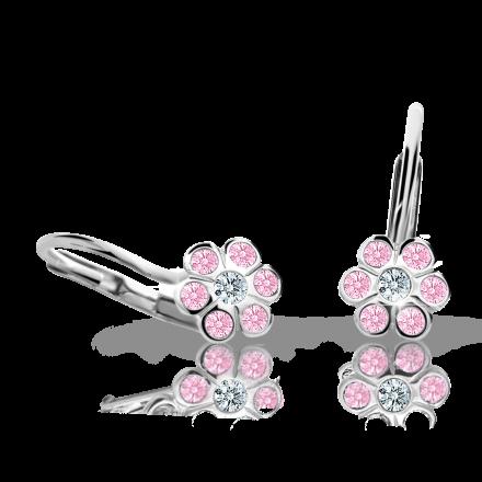 Pendientes de niña Danfil flores C1737 oro blanco, Pink, cierre de pala