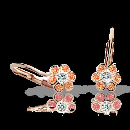 Pendientes de niña Danfil flores C1737 oro rosa, Orange, cierre de pala