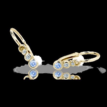 Pendientes para niños C2255 de oro amarillo con diamantes de imitación azules del Ártico